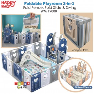 Happy Play – Foldable Playroom 3-in-1, Fold Fence, Fold Slide, Swing WM 19008