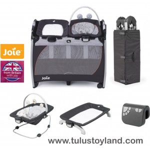 Joie - Excursion Change and Bounce Travel Cot Forest Friends