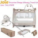 Joie - Excursion Change and Bounce Travel Cot Tan Stripe