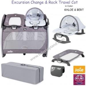Joie Excursion Infant Change /& Rock Travel Cot Changing Unit Removable Bassinet